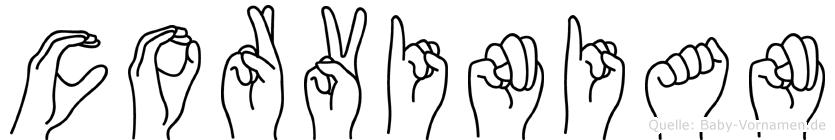 Corvinian im Fingeralphabet der Deutschen Gebärdensprache