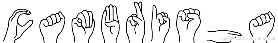 Cambrisha im Fingeralphabet der Deutschen Gebärdensprache