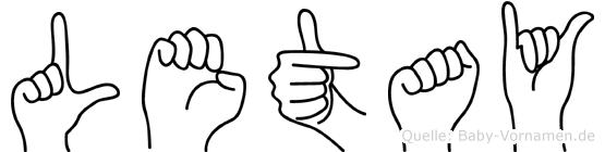 Letay in Fingersprache für Gehörlose