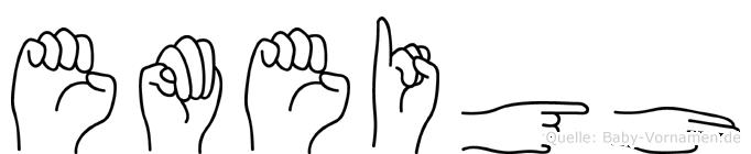 Emeigh im Fingeralphabet der Deutschen Gebärdensprache