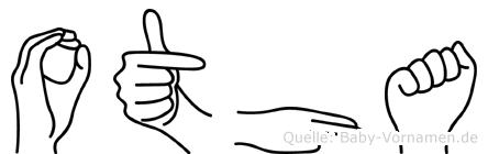 Otha im Fingeralphabet der Deutschen Gebärdensprache
