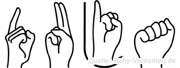 Duja im Fingeralphabet der Deutschen Gebärdensprache