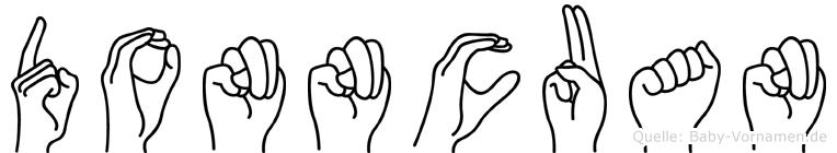 Donncuan im Fingeralphabet der Deutschen Gebärdensprache