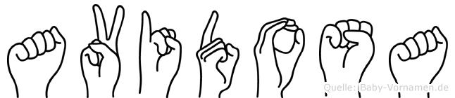 Avidosa im Fingeralphabet der Deutschen Gebärdensprache