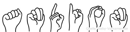 Andion im Fingeralphabet der Deutschen Gebärdensprache