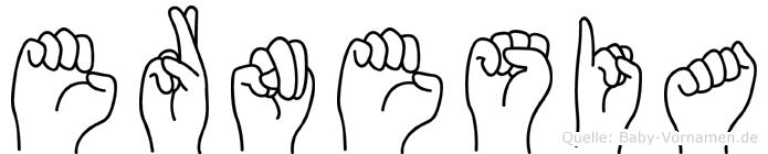 Ernesia im Fingeralphabet der Deutschen Gebärdensprache
