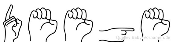 Deege im Fingeralphabet der Deutschen Gebärdensprache