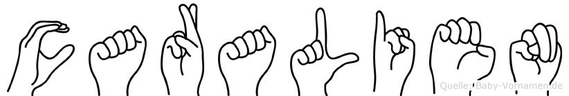 Caralien im Fingeralphabet der Deutschen Gebärdensprache