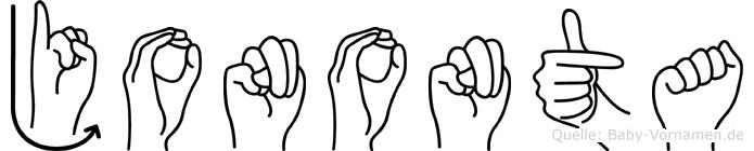 Jononta im Fingeralphabet der Deutschen Gebärdensprache