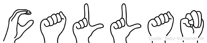 Callan in Fingersprache für Gehörlose