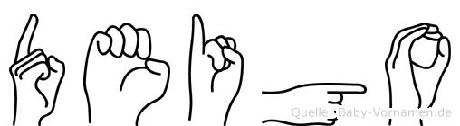 Deigo im Fingeralphabet der Deutschen Gebärdensprache