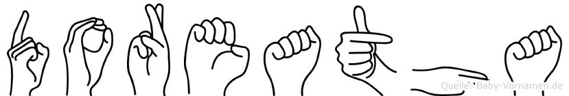 Doreatha im Fingeralphabet der Deutschen Gebärdensprache
