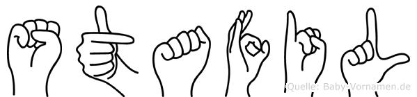 Stafil im Fingeralphabet der Deutschen Gebärdensprache