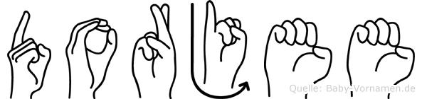Dorjee im Fingeralphabet der Deutschen Gebärdensprache