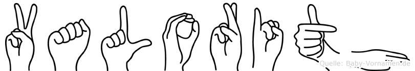 Valorith im Fingeralphabet der Deutschen Gebärdensprache
