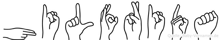 Hilfrida im Fingeralphabet der Deutschen Gebärdensprache