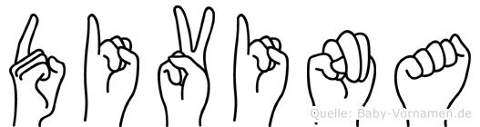 Divina im Fingeralphabet der Deutschen Gebärdensprache