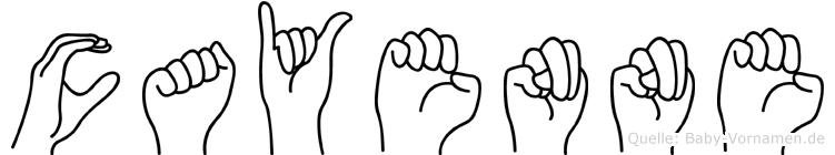 Cayenne im Fingeralphabet der Deutschen Gebärdensprache