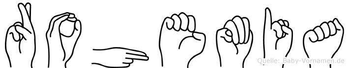 Rohemia im Fingeralphabet der Deutschen Gebärdensprache