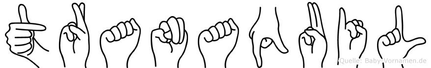 Tranaquil im Fingeralphabet der Deutschen Gebärdensprache