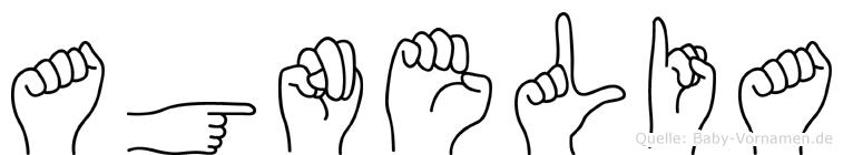 Agnelia im Fingeralphabet der Deutschen Gebärdensprache