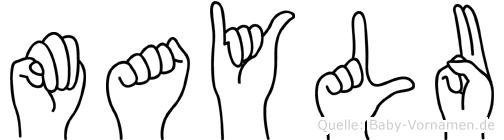 Maylu im Fingeralphabet der Deutschen Gebärdensprache