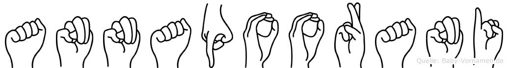 Annapoorani im Fingeralphabet der Deutschen Gebärdensprache