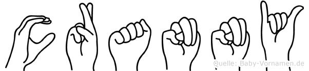 Cranny im Fingeralphabet der Deutschen Gebärdensprache