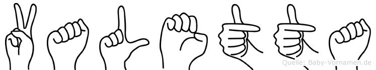 Valetta im Fingeralphabet der Deutschen Gebärdensprache