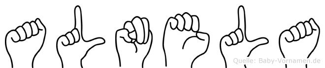 Alnela im Fingeralphabet der Deutschen Gebärdensprache