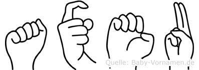 Axeu im Fingeralphabet der Deutschen Gebärdensprache