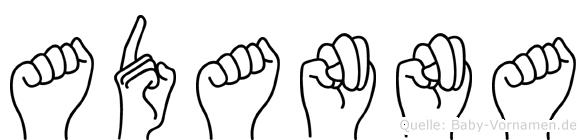 Adanna im Fingeralphabet der Deutschen Gebärdensprache