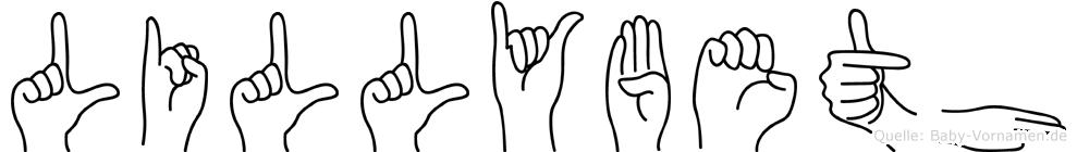 Lillybeth im Fingeralphabet der Deutschen Gebärdensprache