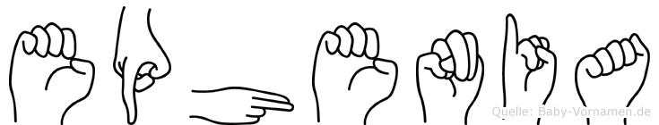 Ephenia im Fingeralphabet der Deutschen Gebärdensprache