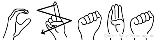Czaba im Fingeralphabet der Deutschen Gebärdensprache