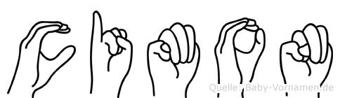Cimon im Fingeralphabet der Deutschen Gebärdensprache