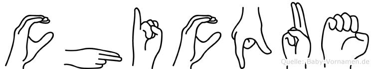Chicque im Fingeralphabet der Deutschen Gebärdensprache