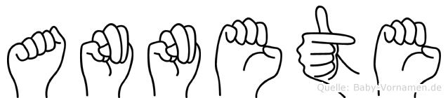 Annete im Fingeralphabet der Deutschen Gebärdensprache