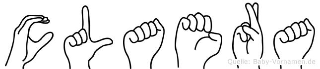 Claera im Fingeralphabet der Deutschen Gebärdensprache