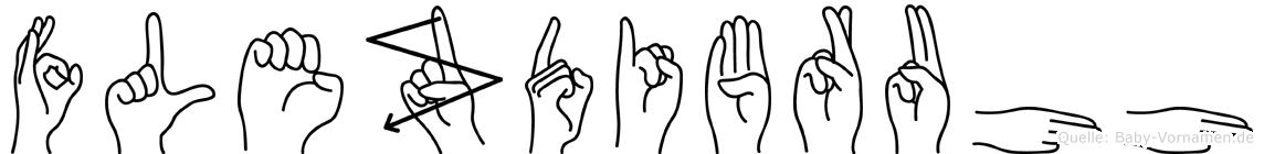 Flezdibruhh im Fingeralphabet der Deutschen Gebärdensprache