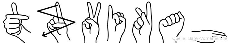 Tzvikah im Fingeralphabet der Deutschen Gebärdensprache