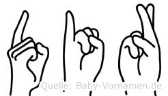Dir im Fingeralphabet der Deutschen Gebärdensprache