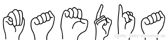 Maedia im Fingeralphabet der Deutschen Gebärdensprache