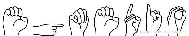 Egmedio im Fingeralphabet der Deutschen Gebärdensprache