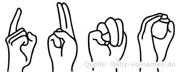 Duno im Fingeralphabet der Deutschen Gebärdensprache