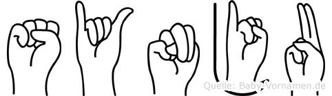 Synju im Fingeralphabet der Deutschen Gebärdensprache