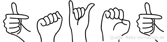 Tayet im Fingeralphabet der Deutschen Gebärdensprache
