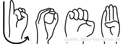 Joeb im Fingeralphabet der Deutschen Gebärdensprache