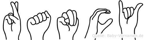 Rancy im Fingeralphabet der Deutschen Gebärdensprache