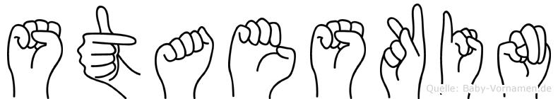 Staeskin im Fingeralphabet der Deutschen Gebärdensprache